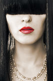 红色表面方式女性的嘴唇 图库摄影