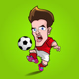 红色衬衣戏剧橄榄球动画片 库存图片