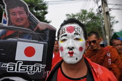 红色衬衣集会在曼谷 免版税库存照片