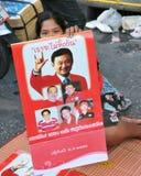 红色衬衣抗议者在曼谷 免版税库存照片