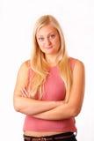 红色衬衣的美丽的白肤金发的妇女 库存照片