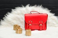 红色袋子和微型礼物盒在白色毛皮 时兴的概念 Hol 库存照片
