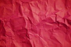 红色被弄皱的纸纹理背景 免版税库存图片