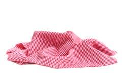 红色被检查的野餐布料弄皱了隔绝 免版税库存照片