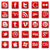 红色被缝的社会媒介象 免版税库存图片
