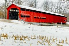 红色被遮盖的桥仲冬 库存照片