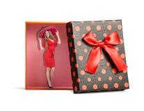 红色被隔绝的礼物盒顶视图  免版税库存照片
