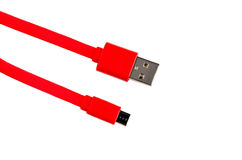 红色被隔绝的usb缆绳微usb 库存图片