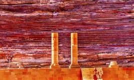 红色被雕刻的圆形剧场剧院Siq Petra约旦 免版税库存图片