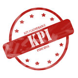 红色被风化的KPI邮票圈子和星 库存照片
