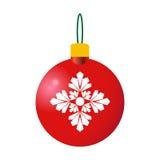 红色装饰圣诞节球 库存例证