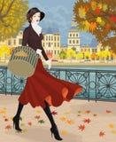 红色裙子的女孩 免版税图库摄影