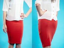 红色裙子的妇女 免版税库存图片