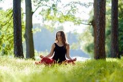 红色裙子的少妇享受凝思和瑜伽在绿草的在夏天在自然 库存照片