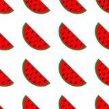 红色西瓜切无缝的样式 汁液包装的果子汇集 纺织品,包裹,贴墙纸 查出在白色 皇族释放例证