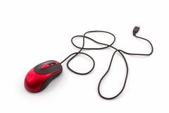 红色计算机老鼠 免版税图库摄影