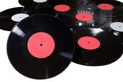 红色许多乙烯基的圆盘和白色标签 库存照片