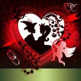 红色设计,与心脏的背景 库存照片