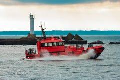 红色试验船 库存照片