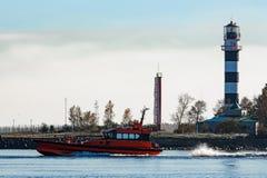 红色试验船 库存图片