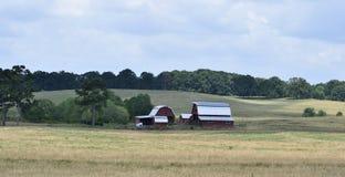 红色谷仓在农村乔治亚美国 库存图片
