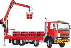 红色起重机卡车 免版税库存图片