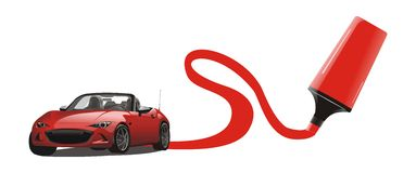 红色跑车图画传染媒介  库存图片