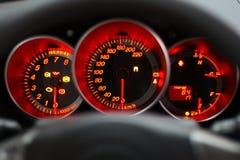 红色车速表 库存照片
