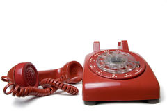 红色转台式电话 免版税图库摄影