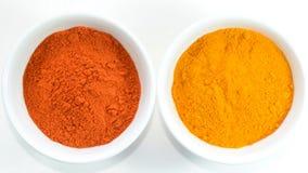 红色辣椒和姜黄 免版税库存图片