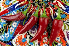 红色辣椒或辣椒辣椒特写镜头 库存照片