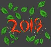 红色辣椒新年好2018年 免版税库存图片
