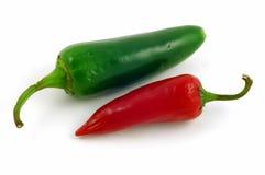 红色辣椒的青椒 免版税图库摄影