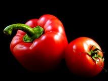 红色辣椒粉和蕃茄 免版税库存照片