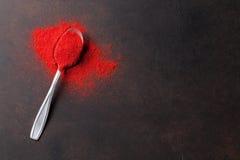 红色辣椒粉粉末香料 免版税库存图片