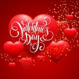 红色迷离心脏情人节背景 向量 免版税图库摄影