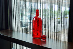 红色透明瓶 图库摄影