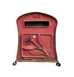 红色邮箱,葡萄酒样式,隔绝在白色背景 免版税图库摄影