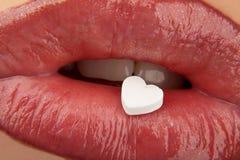 红色重点的嘴唇 免版税图库摄影