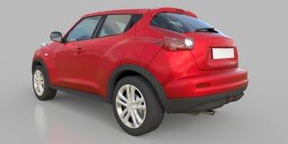 红色金属超小型天桥SUV 3d翻译 向量例证