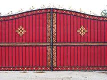 红色金属门 免版税库存照片