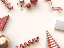 红色金摘要形状几何圣诞节概念平的被放置的背景3d翻译 向量例证