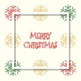 红色金黄绿色上色了雪花,圣诞节贺卡 库存图片