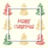 红色金黄绿色上色了xmas树,圣诞节贺卡 库存照片