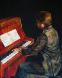 红色钢琴 免版税库存图片