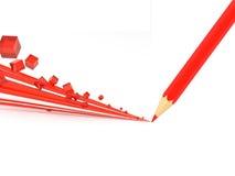 红色铅笔画 免版税库存照片