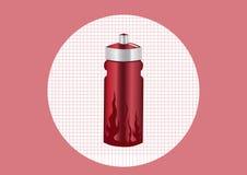 红色铝瓶装水, 图库摄影
