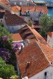 红色铺磁砖的屋顶和庭院顶视图在一个小镇在黑山, travell 免版税图库摄影