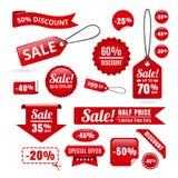 红色销售折扣标记、徽章和丝带 免版税库存图片
