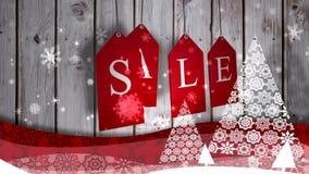 红色销售标记垂悬反对木头用欢乐边界 库存例证